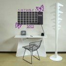 Chalkboard Monthly Office 2018 Calendar Butterflies Vinyl Wall Sticker