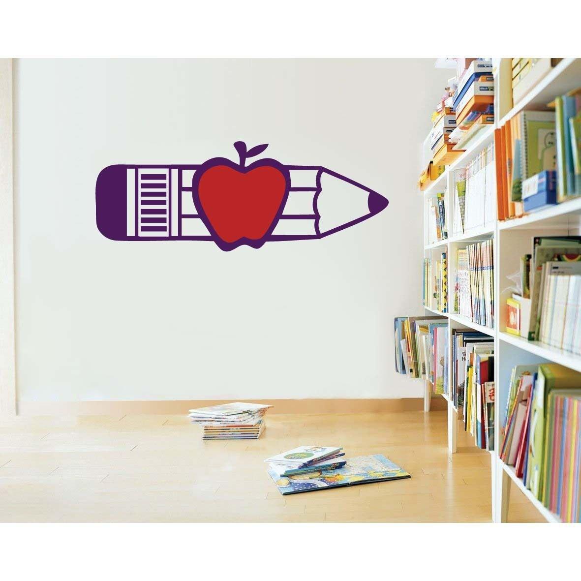 Pencil & Apple Teacher Classroom School Wall Sticker Decal