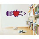 Pencil & Apple Teacher Classroom School Wall Sticker Decal