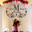 "Elegant Wedding Monogram Custom Wall Vinyl Sticker Decal 22""h X 35""w"