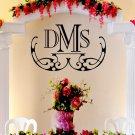 """Elegant Wedding Monogram Custom Wall Vinyl Sticker Decal 22""""h X 39""""w"""