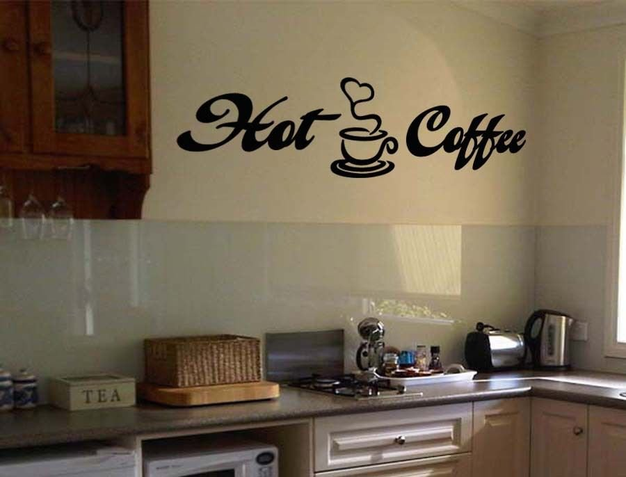 """Hot Coffee Wall Quote Vinyl Sticker Decal 10""""h x 36""""w"""