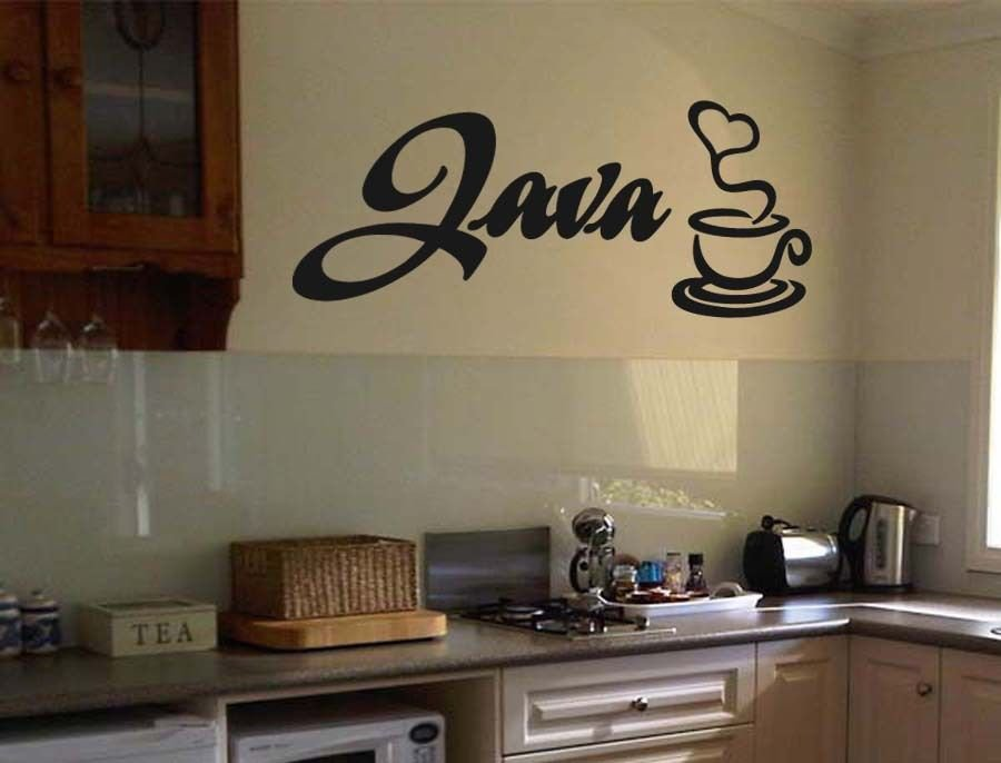 """Java Coffee Wall Quote Vinyl Sticker Decal 17""""h x 36""""w"""