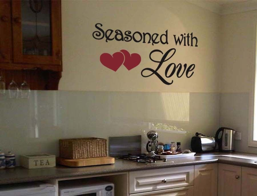 """Seasoned with Love Heart Wall Quote Vinyl Sticker Decal 18""""h x 36""""w"""