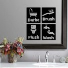 "Bathe Brush Flush & Wash Bathroom Wall Quote Sticker Decal (4.5""h squares)"