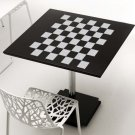 """Checkerboard Chess Board Design Frosted Etched Glass Vinyl Sticker Decal 22""""h"""