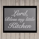 "Lord, Bless my Kitchen Frosted Etched Glass Vinyl Wall Sticker Decal 13""h x 22""w"