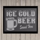 "Ice Cold Beer Served Here Frosted Etched Glass Vinyl Sticker Decal 15""h x 22""w"