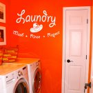 "Wash Rinse Repeat Laundry Room Vinyl Wall Quote Sticker Decal 36""w x 22""h"