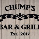 "Custom Family Bar & Grill Vinyl Wall Quote Sticker Decal 22""h x 28""w- 40""w"