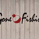 """Gone Fishing Beach Wall Quote Vinyl Sticker Decal 10""""h x 40""""w"""