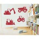 """Construction Vehicles Trucks Vinyl Wall Sticker Decals 10""""- 15""""w (4 Designs)"""