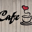 "Cafe Coffee Heart Wall Quote Sticker Vinyl Decal 12""h x 22""w"