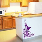 Butterfly Flourish Floral Scroll Design Vinyl Wall Sticker Decal 22 in h x 15 in