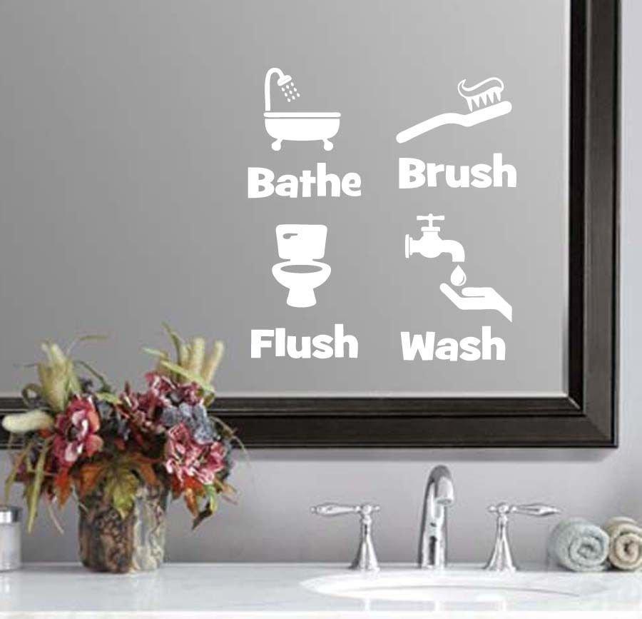 "Bathe Brush Flush & Wash Bathroom Wall Quote Sticker Decal (4""h each image)"
