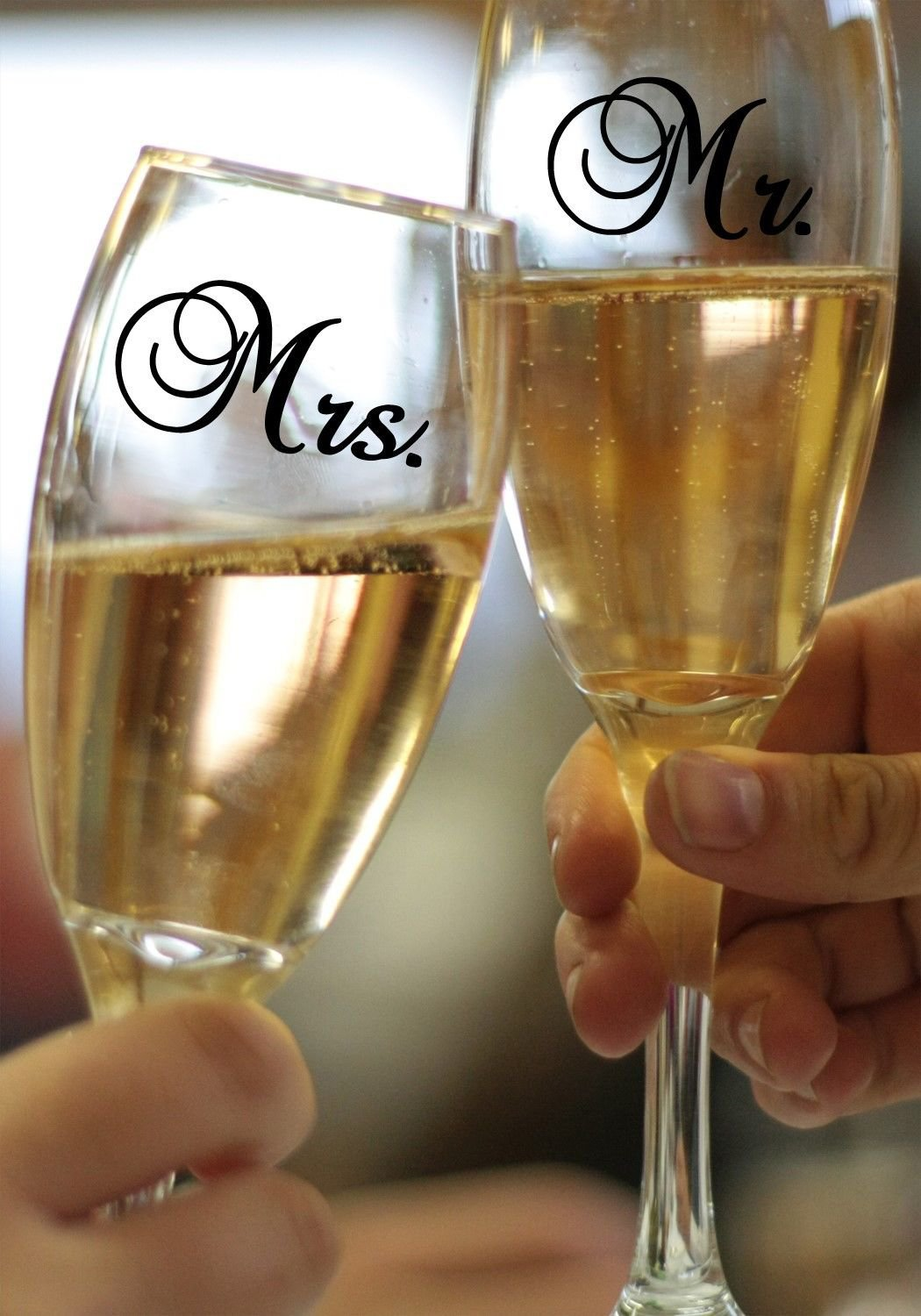 "MR & MRS Wedding Champagne Glass Vinyl Sticker Decal Set 1.5""h x 2.5""w each"