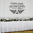 "Two Hearts that Beat as One Wedding Wall Decor Vinyl Sticker Decal 22""h x 30""w"