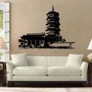 "Asian Pagoda Buddhist Vinyl Wall Sticker Decal 13""h x 22""w"