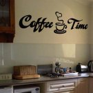 "Coffee Time Wall Quote Vinyl Sticker Decal 6""h x 22""w"