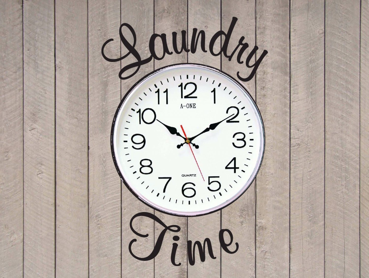 """Laundry Time Room Vinyl Wall Quote Sticker Decal 10""""w (Clock Not Included)"""