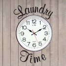 "Laundry Time Room Vinyl Wall Quote Sticker Decal 10""w (Clock Not Included)"
