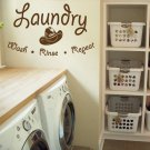 "Wash Rinse Repeat Laundry Room Vinyl Wall Quote Sticker Decal 22""w x 13""h"