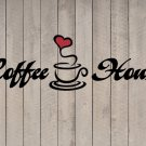 "Coffee House Heart Wall Quote Sticker Vinyl Decal 7""h x 22""w"