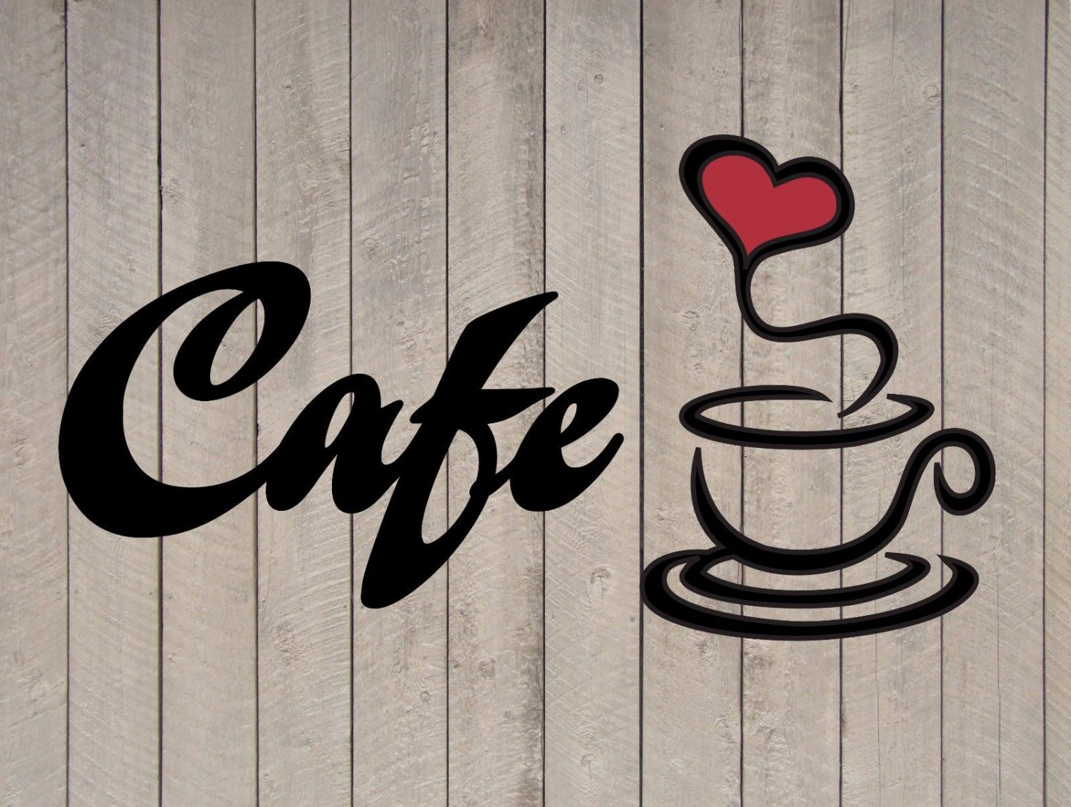 """Cafe Coffee Heart Wall Quote Sticker Vinyl Decal 6""""h x 11""""w"""
