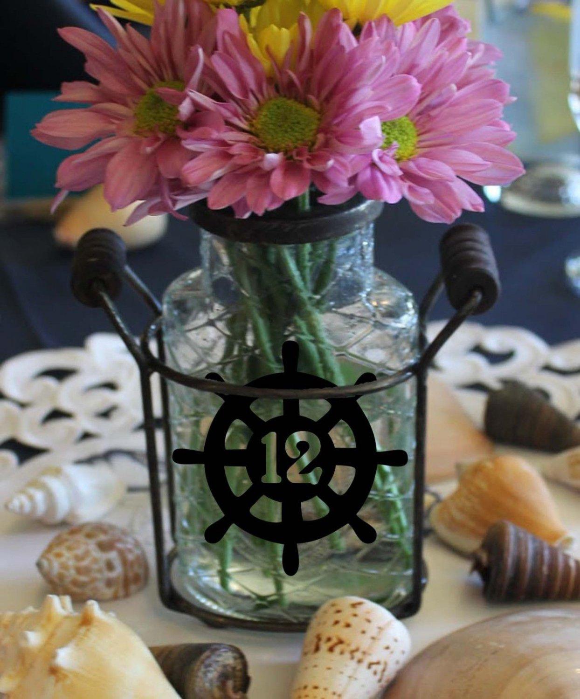 "Nautical Ship Wheel Wedding Table Numbers 1-25 Vinyl Sticker Decals 3""h x 3""w"