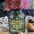 """Ship Wheel Wedding Table Numbers 1-15 Frosted Etched Vinyl Sticker Decals 4"""""""