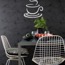 """Coffee Cup Heart Wall Quote Vinyl Sticker Decal 8""""h x 11""""w"""