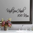 "Wash Your Hands XOXO Bathroom Mom Wall Quote Sticker Decal 5""h x 11""w"