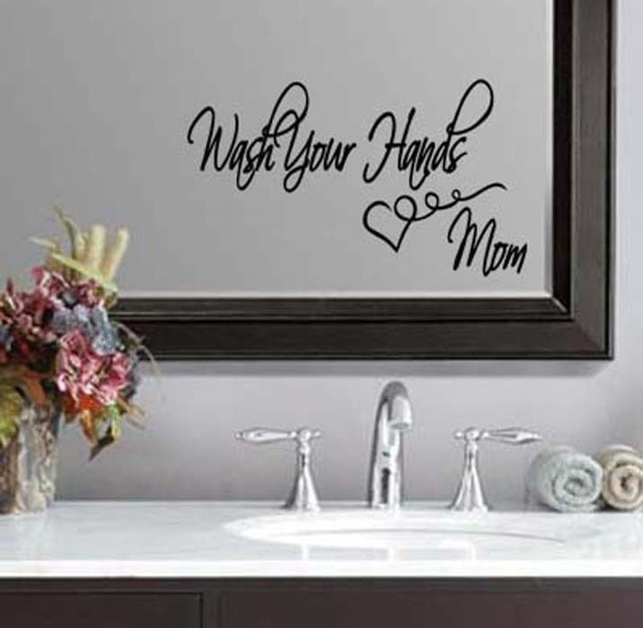 """Wash Your Hands Bathroom Mom Wall Quote Sticker Decal 5.5""""h x 11""""w"""