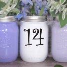 "Wedding Table Numbers 1-25 Centerpiece Vinyl Sticker Decals (4""h Numbers) (b)"