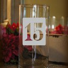 "Wedding Table Numbers 1-15 Frosted Etched Glass Vinyl Sticker Decals 3""h squares"