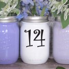 "Wedding Table Numbers 1-15 Centerpiece Vinyl Sticker Decals (3""h Numbers) (b)"