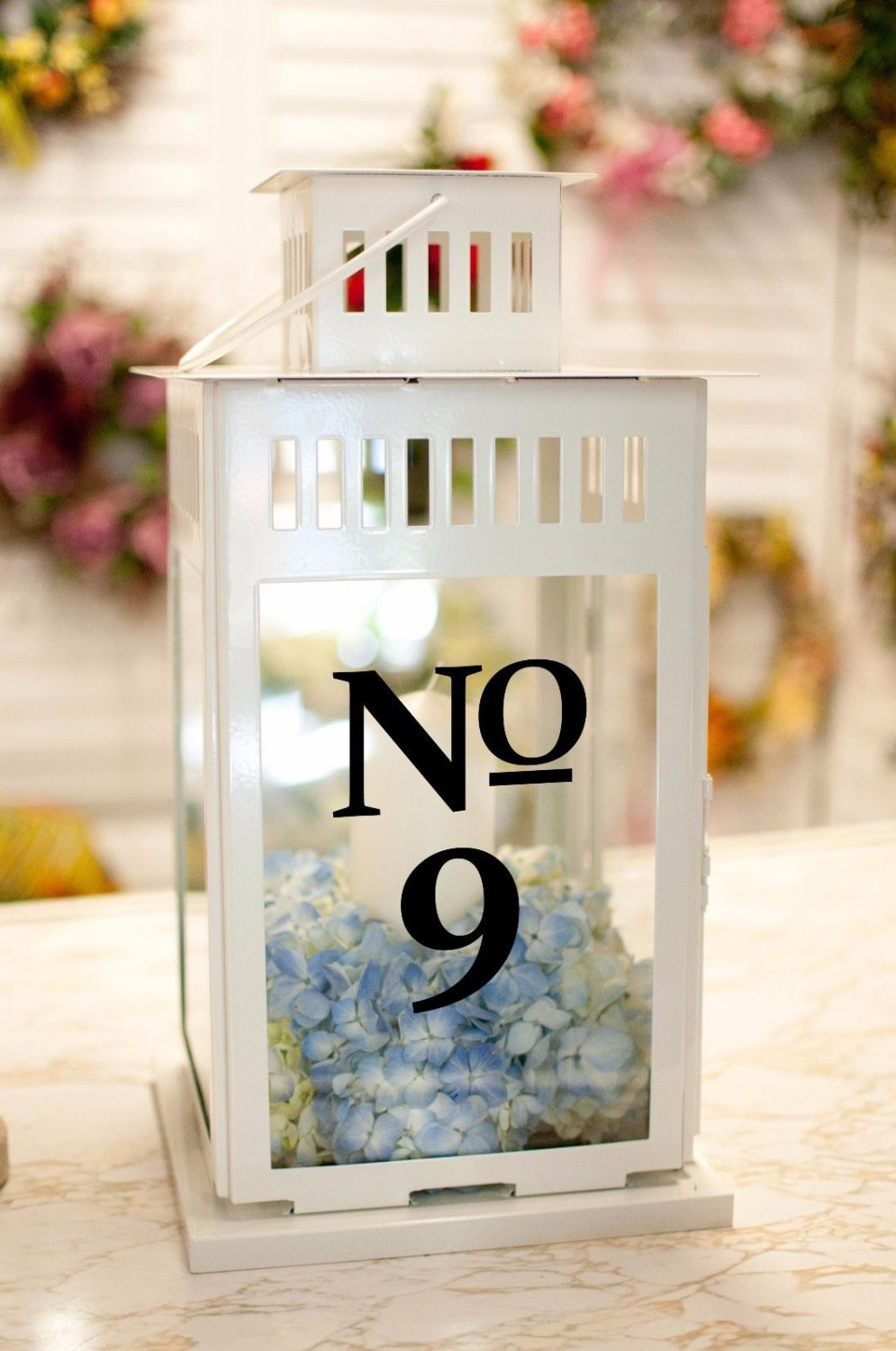 "Wedding Table Numbers 1-10 Vinyl Sticker Decals (5.5""h x 4""w Words)"