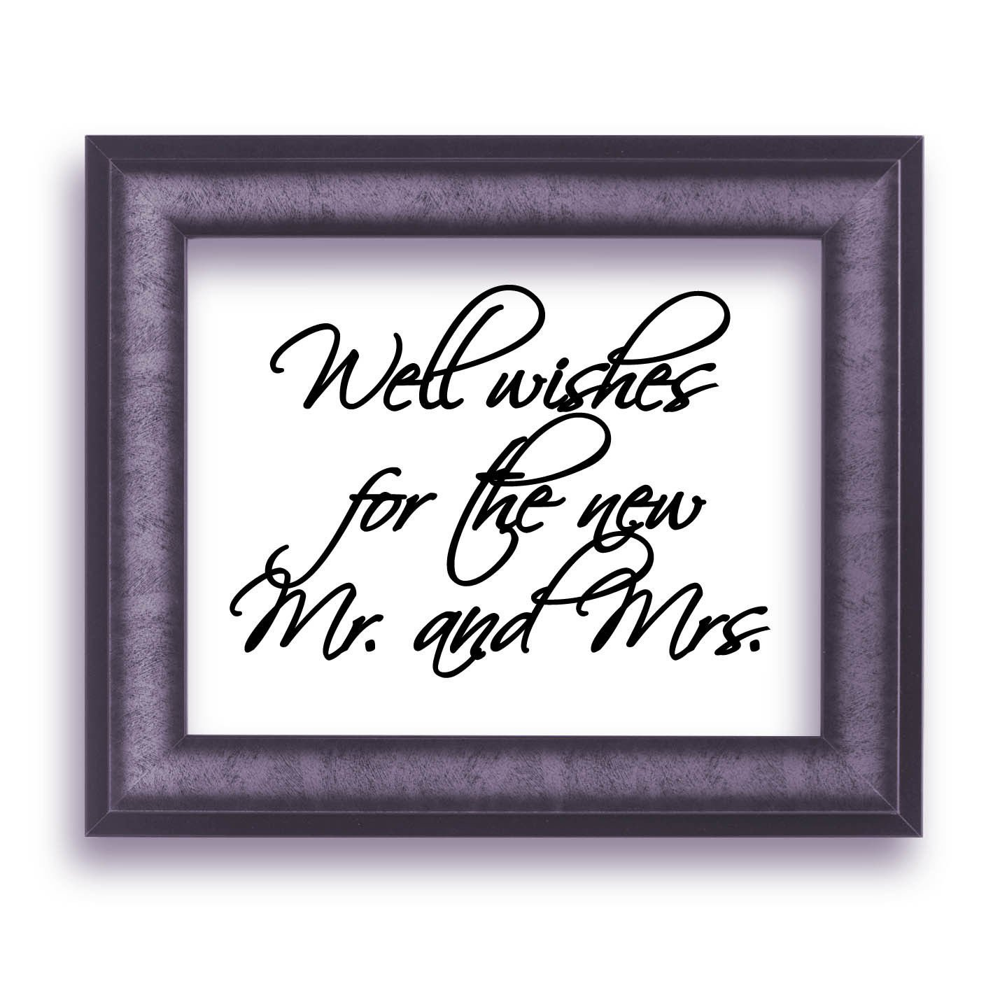"""Well wishes for the new Mr. and Mrs.Script Wedding Vinyl Sticker Decal 6""""h x 8""""w"""