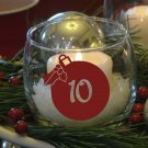 """Christmas Ball Holiday Party Table Numbers 1-10 Vinyl Sticker Decals 3""""h ea"""