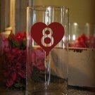 "Wedding Table Numbers 1-5 Vinyl Sticker Decals (3""h Hearts)"