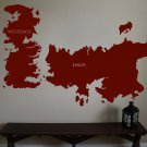 "Game of Thrones World Map Westeros Essos Vinyl Wall Sticker Decal 44""h x 64""w"