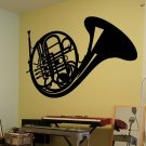 "French Horn Musical Instrument Vinyl Wall Sticker Decal 33""h x 48""w"