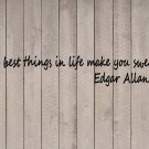 "Edgar Allan Poe Best things are Sweaty Quote Vinyl Sticker Decal 8""h x 48""w"