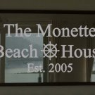 "Custom Beach House Frosted Etched Glass Vinyl Wall Sticker Decal 15""h x 36""-40""w"