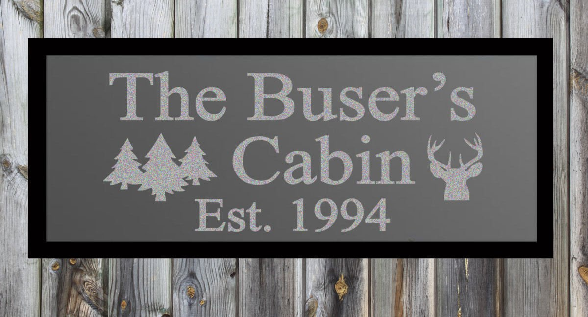 """Custom Cabin Frosted Etched Glass Vinyl Wall Sticker Decal 17""""h x 36""""- 40""""w"""