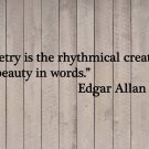 "Edgar Allan Poe Poetry is the Creation of Beauty Vinyl Sticker Decal 11""h x 48""w"