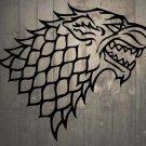 "Game of Thrones House of Stark Direwolf Vinyl Wall Sticker Decal 32""h x 36""w"