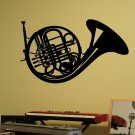 """French Horn Musical Instrument Vinyl Wall Sticker Decal 22""""h x 32""""w"""