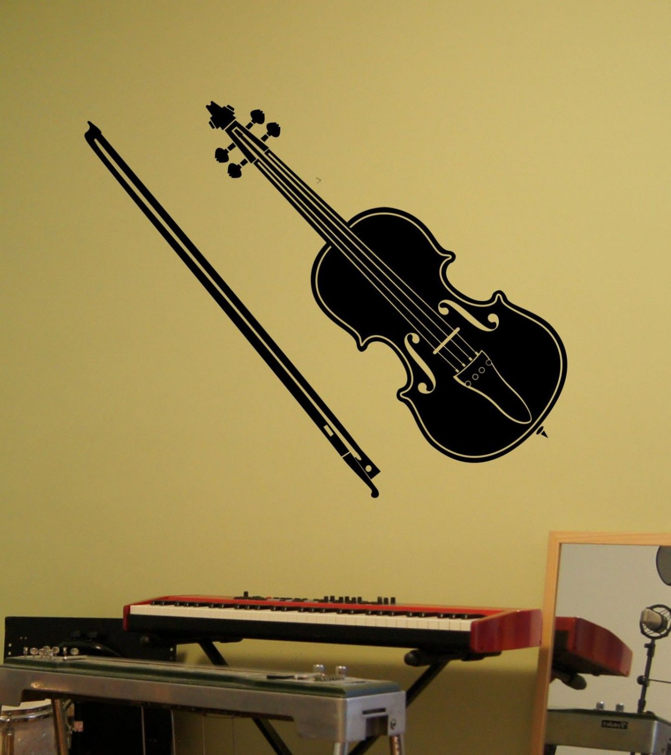 "Violin and Bow Musical Instrument Vinyl Wall Sticker Decal 9""h x 22""w"