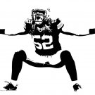 "Clay Matthews Green Bay Packers Football Vinyl Wall Sticker Decal 32"" w x 22"" h"